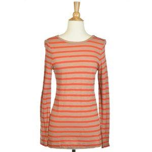 Ann Taylor LOFT Orange and Brown Stripped Shirt
